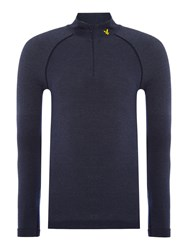 Lyle And Scott Men's Sports Long Sleeve 1 4 Zip Base Layer Top Navy