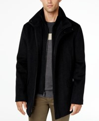 Calvin Klein Men's Wool Blend Herringbone Car Coat Charcoal