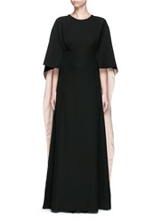 Valentino Open Back Cape Sleeve Silk Gown Black