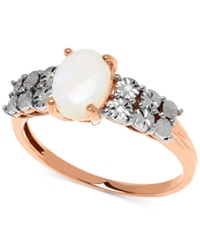 Macy's Opal 3 4 Ct. T.W. And Diamond Accent Ring In 14K Rose Gold
