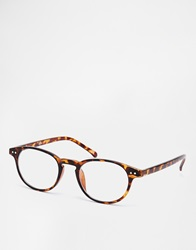 Asos Round Glasses With Clear Lens In Brown