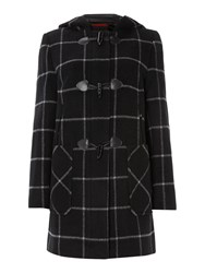 Cloud Nine Check Duffle Coat Black