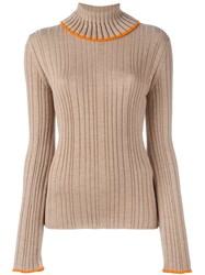 Msgm Flared Longsleeved Ribbed Pullover Nude And Neutrals