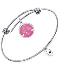 Unwritten 'I Love You Mom' Adjustable Message Bangle Bracelet In Stainless Steel