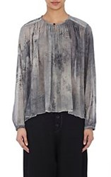 Pas De Calais Shirred Gauze Peasant Blouse Black