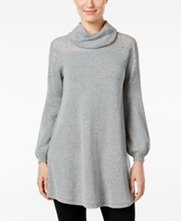 Styleandco. Style Co. Petite Cowl Neck Lace Sweater Only At Macy's Bold Grey Heather