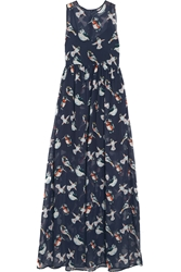 Msgm Printed Silk Chiffon Maxi Dress