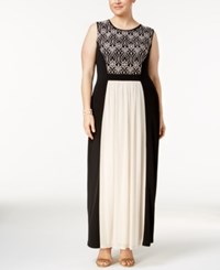Connected Plus Size Lace Inset Jersey Gown Gold