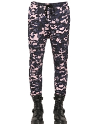 Markus Lupfer Camo Printed Cotton Jogging Pants Pink Blue