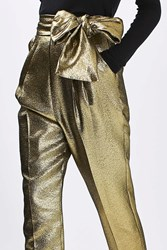 Boutique Lame Sash Carrot Trousers By Gold