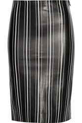 Title A Striped Leather Pencil Skirt