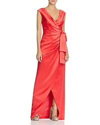 Kay Unger Satin Wrap Gown Persimmon