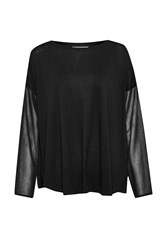 Great Plains Remix Jersey Sheer Sleeved Top Black