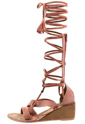 Free People Saltarello Wedge Sandals Rust Light Red