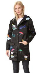 Mira Mikati Print Rain Rain Go Away Raincoat Black