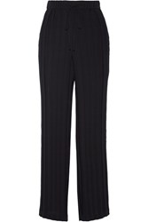 Theory Tralpin Plisse Crepe Wide Leg Pants Black