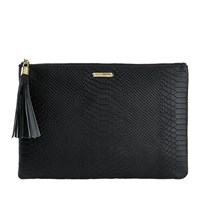Graphic Image Uber Clutch In Embossed Python Leather Black Plain