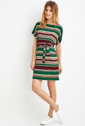 Forever 21 Contemporary Belted Stripe Sheath Dress Green Wine