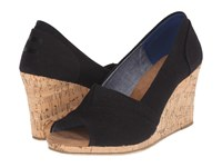 Toms Classic Wedge Black Linen With Cork Wedge Women's Wedge Shoes