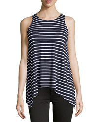 Neiman Marcus Striped Sharkbite Hem Tank Navy White