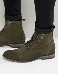 Asos Lace Up Boots In Khaki Suede With Toecap Khaki Green