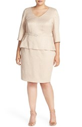 Plus Size Women's Alex Evenings Mock Two Piece V Neck Peplum Dress