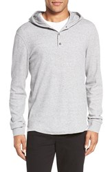 Vince Men's Trim Fit Button Hoodie Heather Grey