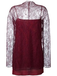 Nina Ricci Floral Lace Overlay Blouse Red