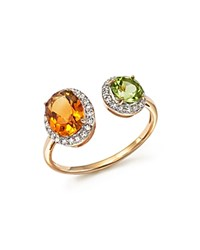 Bloomingdale's Citrine And Peridot Two Stone Ring With Diamonds In 14K Yellow Gold White