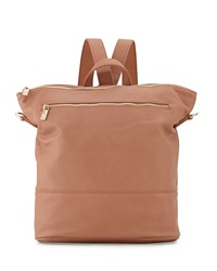 Neiman Marcus Pebbled Faux Leather Convertible Bucket Backpack Minky Blush