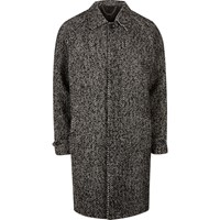 River Island Mensgrey Herringbone Oversized Coat