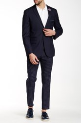 Paisley And Gray Polka Dot Flat Front Slim Fit Trouser Blue