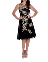 Decode 1.8 Metallic Flower Illusion Dress Black Gold