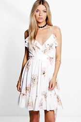 Boohoo Floral Ruffle Skater Dress Multi