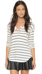 Chaser Striped Henley Natural Black