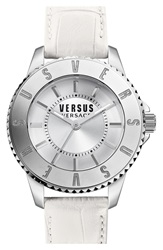 Versus By Versace 'Tokyo' Leather Strap Watch 38Mm White Silver