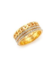 Vita Fede Crystal And Chain Double Band Ring Gold