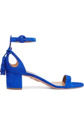 Aquazzura Pixie Bow Embellished Suede Sandals Bright Blue