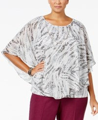 Alfred Dunner Plus Size Veneto Valley Collection Printed Poncho Necklace Top Grey