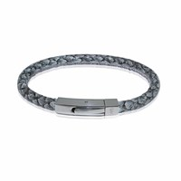 Marlin Birna Atlantic Salmon Leather Bracelet Single Cord Grey And Stainless Steel Grey Silver