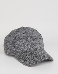 Asos Baseball Cap In Grey Boucle Grey