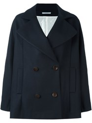 Dusan Short Double Breasted Coat Blue