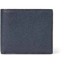 Valextra Pebble Grain Leather Billfold Wallet Navy