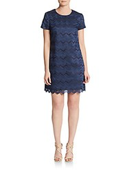 Cynthia Steffe Kayte Embroidered Chevron Dress True Navy