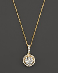 Bloomingdale's Diamond Cluster Pendant Necklace In 14K Yellow Gold .55 Ct. T.W.