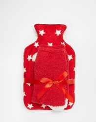 Asos Christmas Star Hot Water Bottle And Cosy Socks Set Red