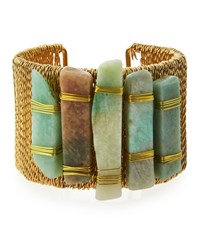 Panacea Golden Wire Wrapped Amazonite Cuff Bracelet Mint