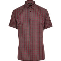 River Island Mens Red Tartan Slim Fit Shirt