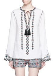 Talitha Diamond Embroidered Bell Sleeve Tassel Tunic White Multi Colour