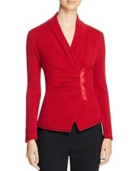 Lafayette 148 New York Asymmetric Pleat Cashmere Sweater Ruby Red